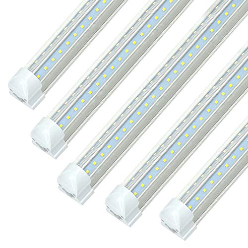 8FT LED Tube Light Fixture - 72w T8 Integrated LED Shop Lights, 7200lm, 6000k-6500k Cool White, JESLED Super Bright LED Replacement for Garage, Warehouse, Workshop, Barn, Basement, 100-305Vac (25Pack)