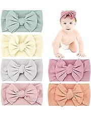 Makone Babyhoofdband, handgemaakte haarband met strikken, 14 cm (5,5 inch), grote haarband, hoofdband voor zuigelingen, meerkleurig, verpakking van 6 stuks