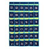 Loghot Numbered Classroom Sundries Closet Pocket Chart for Cell Phones Holder Wall Door Hanging Organizer Blue (36 Pockets with Digital)