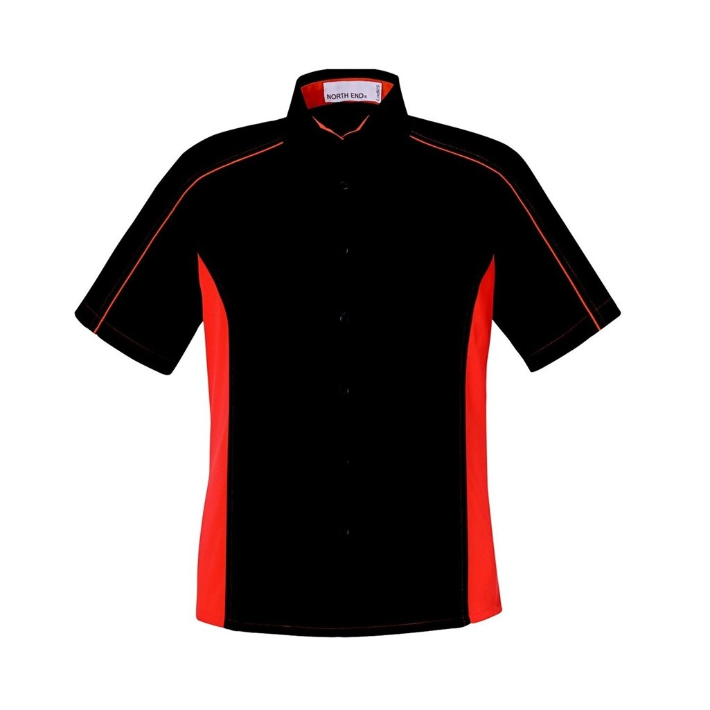 Ash City Ladies Fuse Color Block Twill Shirt (X-Small, Black/Orange)