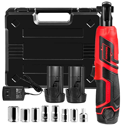 "Goplus Cordless 3/8"" Electric Ratchet Wrench Set w/ 2 Pack 2000mAh Lithium-Ion Battery, 12V Power Ratchet Tool Kit w/ 1-piece 1/4"" Socket Adapter and 7-piece 3/8"" Metric Sockets, Carrying Case"