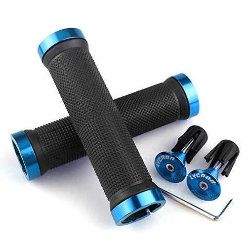 LYCAON Bike Handlebar Grips, Non-Slip-Rubber Adjustable Bicycle Handle Grip with Aluminum Lock, Mountain Road Foldable Bike MTB BMX with Two Rubber Aluminum Expandable End Caps (Blue) (Mountain Bike Handlebar Grips)