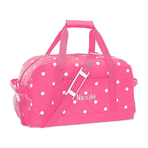 Kids Personalized Duffle Bags (Pink with White Dots Kids Personalized Medium Duffel Bag by Lillian Vernon (11