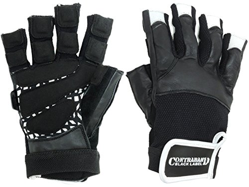 Contraband Black Label 5830 Premium Leather Weight Lifting Gloves w/ Super Grip Pads (White, X-Large)