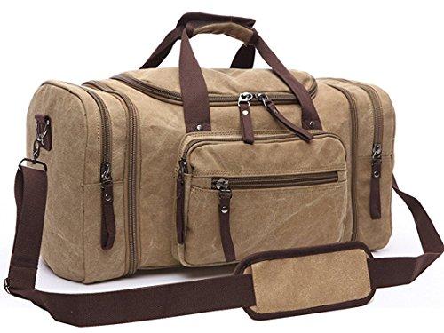Cheap Unisex's Canvas Duffel Bag Oversized Travel Tote Luggage Holiday Gym Bag (khaki)