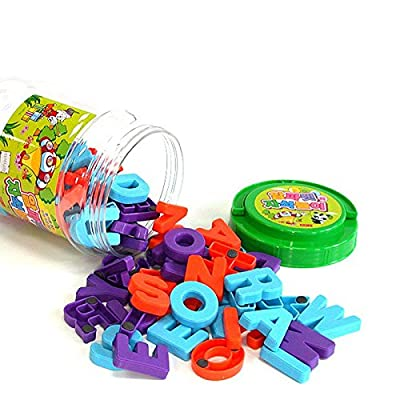 """Magnetopia 78 Magnetic Alphabet Capitals Letters Bucket for Preschool Learning 1.2"""" - 1.6"""": Toys & Games"""