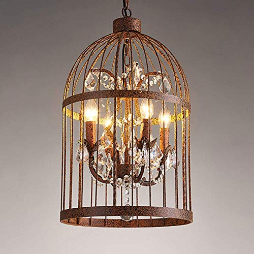 - Crystal Pendant Light,ONEGOL 4 Lights Birds Cages Ceiling Chandeliers Fixtures Vintage Iron Birdcage Crystal Chandelier Light Lamp Restaurant Home Shop Decor Incandescent Lighting (Black) (Gold)