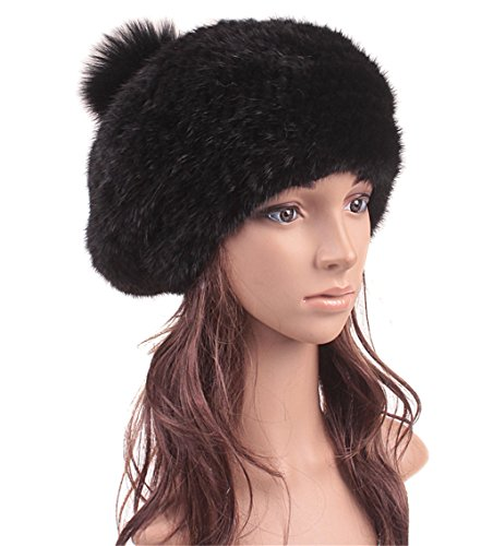 Roniky Womens Girls Mink Fur Knitted Fur Beret Hat with Fur Pom Pom