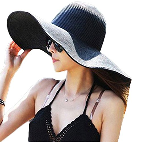 Itopfox Women's Beachwear Sun Hat Striped Straw Hat Floppy Big Brim Hat Black#1