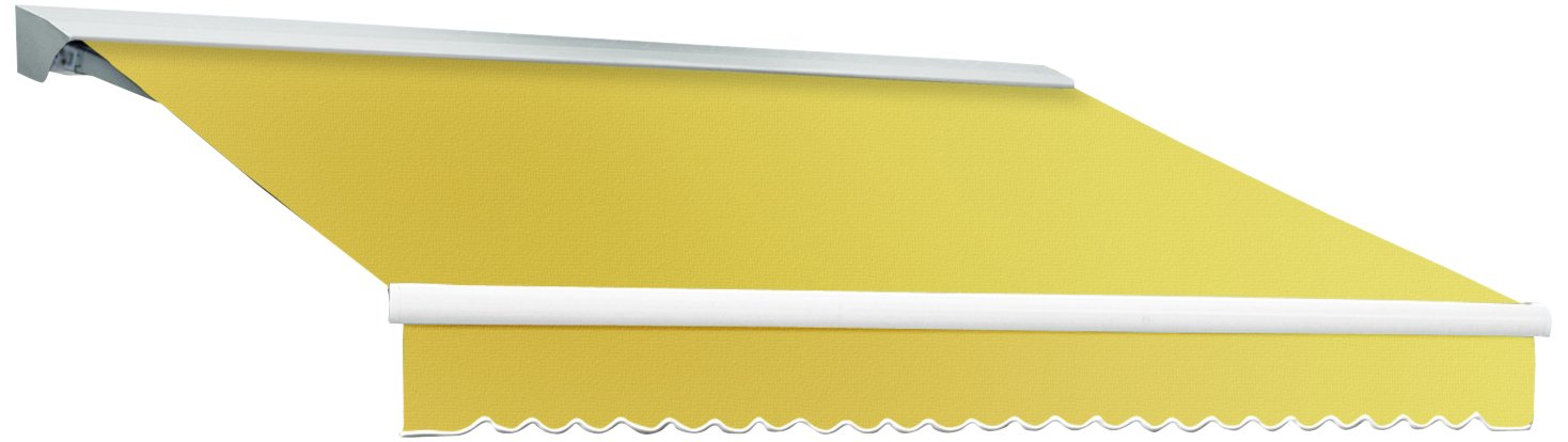 Awntech 16-Feet Destin LX with Hood Right Motor and Remote Retractable Acrylic Awning, 120-Inch Projection, Light Yellow/White