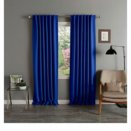 2 Piece Cobalt Blue Blackout Thermal Curtain Panel Pair Solid Insulated Heat & Cold Casual Stylish Rich Color Home Window Cover Blocks Noise Sun And Keeps Room Cool Better Than (Cobalt Blue Curtains)
