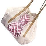 NXDA Cute Canvas Pineapple Print Handbags Shoulder Bag Tote Crossbody Bag Messenger Bags For Women and Girls (Pink)