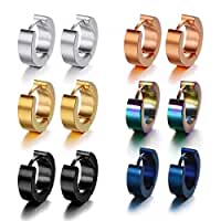 Pusheng Stainless Steel Small Hoop Earrings Set for Men Women Huggie Earrings