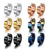 Pusheng Stainless Steel Small Hoop Earrings Set Clip On Earrings Set for Men Women Huggie Earrings Non-Piercing 6 Pairs