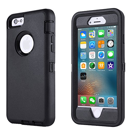 iPhone 6/6s Case,[Heavy Duty] Armor 3 in 1 Built-in Screen Protector Rugged Cover Dust-Proof Shockproof Drop-Proof Scratch-Resistant Tough Shell for Apple iPhone 6/6s 4.7 inch (Black)