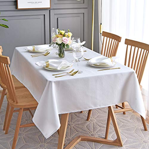 maxmill Jacquard Table Cloth Swirl Pattern Spillproof Wrinkle Resistant Oil Proof Heavy Weight Soft Tablecloth for Kitchen Dinning Tabletop Decoration Outdoor Picnic Rectangle 52 x 70 Inch White ()