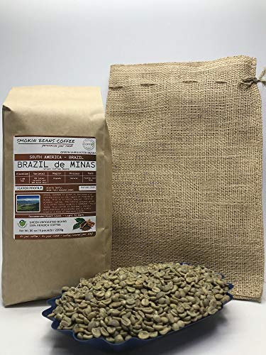 5 Pounds - South American - Brazilian - Unroasted Arabica Green Coffee Beans - Grown In Region Chapada - Altitude 2400 Feet - Catuai, Vermelho - Drying/Milling Process Is Natural - Includes Burlap Bag (Drying Coffee Patio)