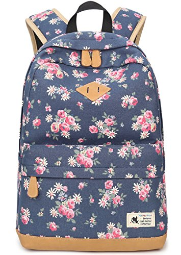 Preppy Korean Style Canvas Flower Floral Casual Daypacks College Student Satchels (1317.76.3 in (LHW), Floral Blue)