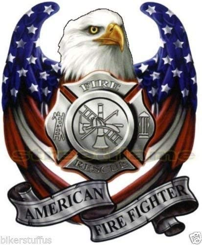 MFX Design American USA Flag Eagle American Fire Fighter Sticker Decal Bumper Sticker Decal Car Sticker Decal Vinyl - Made in USA