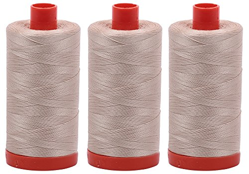 Bundle of 3 Large 1422 Yard Spools of Aurifil 50wt Egyptian Cotton Thread, Color: Ermine, No. A1050-2312