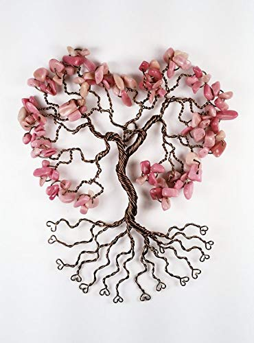 Bronze Tree of Life Pink Gemstone Wall (Wall Hanging Willow Tree)