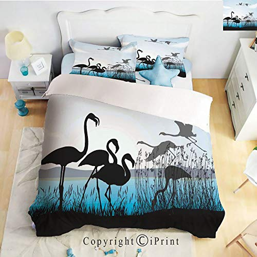 Homenon Bedding 4 Piece Sheet Set,Flat Sheet,2 Pillow Cases,Flamingo Silhouettes Walking Flying Waterfront and The River Reed Bed,Black Light Blue Grey,Twin Size
