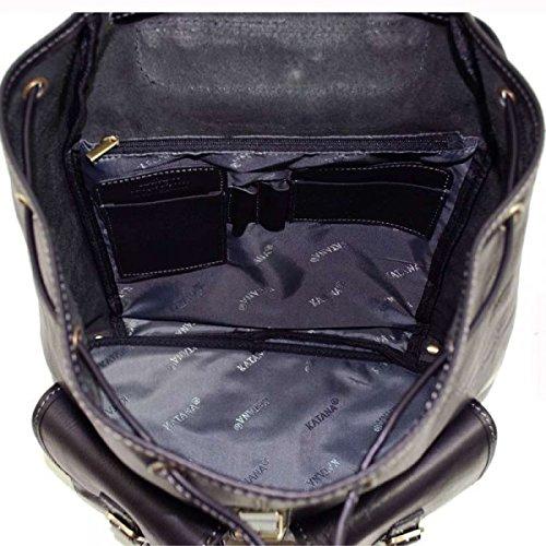 Katana - Sac a dos Cuir Vachette 2 poches - Noir