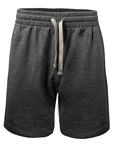 (ProGo Men's Casual Basic Fleece Marled Shorts Pants with Elastic Waist (Charcoal, Large))
