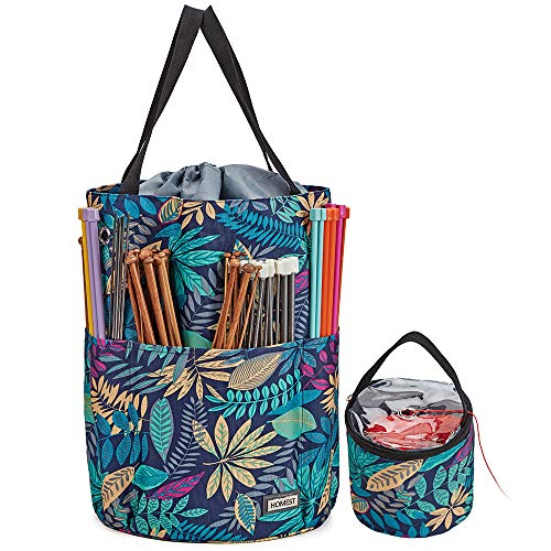 HOMEST XL Yarn Storage Tote, Tangle Free with 6 Oversized Grommets, Knitting and Crochet Organizer, Large Craft Supplies Bag with Drawstring Closure, Floral (Patent Design)