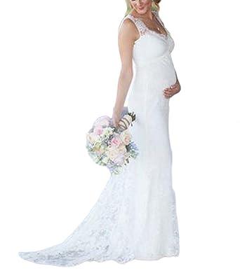 Falydal Women\'s Lace Maternity Wedding Dress V Neck Empire Waist ...