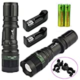NEW 2X Flashlight 10000 Lumen Zoomable CREE XML T6 LED Torch Tactical Light Aluminum