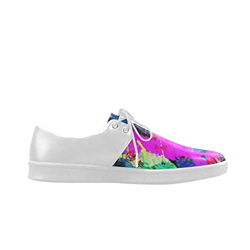 HUANGDAISY Shoes Colorful Panit Drew Lace Up Mesh Cloth Casual Mens Loafer