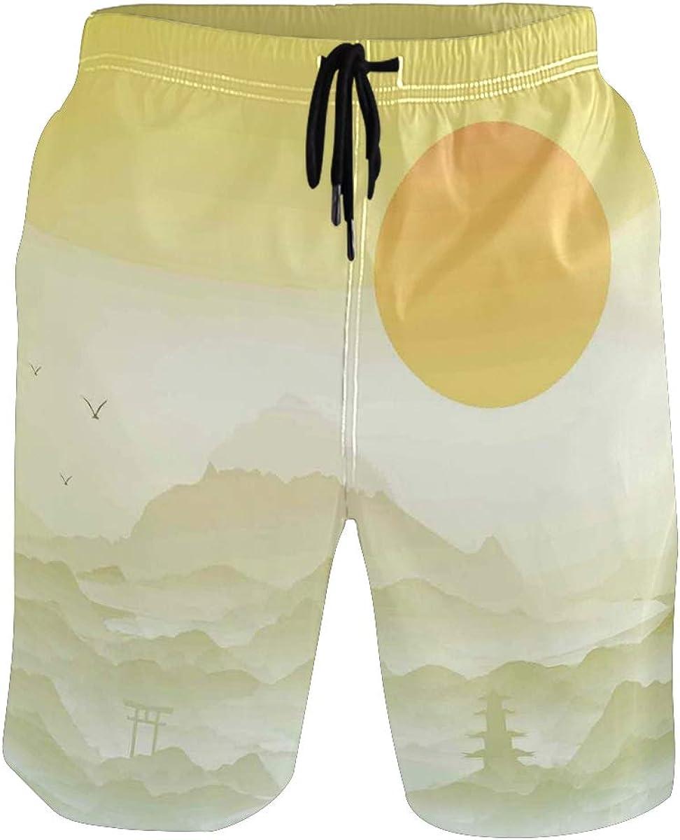 COVASA Mens Summer ShortsJapanese Landscape Illustration with Sun Mountains Ar