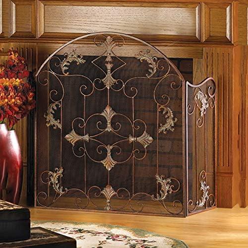 暖炉スクリーン 冬の暖かいためのアメリカの黒い暖炉スクリーン-家庭用錬鉄ファイアスパークガード-防錆メッシュメッシュ