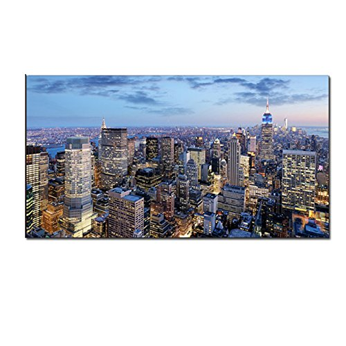 Crescent Art Large Canvas Printing New York City At Night View City Skyline Photo Poster Picture For Hotel Cafe And Office Wall Decoration Unframed