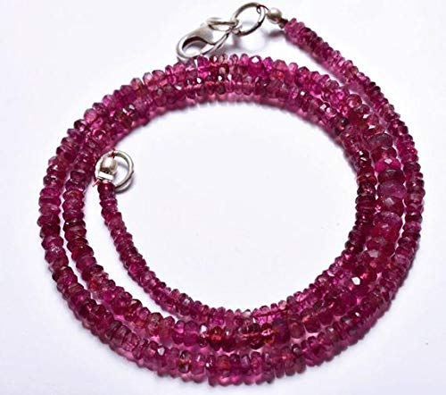 (GemAbyss Beads Gemstone 1 Strand Natural 16 inch Full Stand Super Finest Natural Rare Pink Tourmaline Micro Faceted Rondelle Beads Necklace 3 to 4.5 MM Code-MVG-22283)