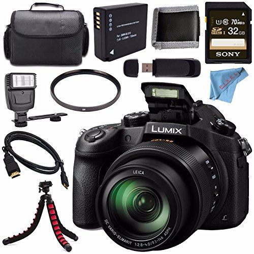 Panasonic Lumix DMC-FZ1000 Digital Camera + Lithium Ion Battery + Sony 32GB SDHC Card + Carrying Case + Tripod + Micro HDMI Cable + Memory Card Wallet + Card Reader + Fibercloth + Flash Bundle
