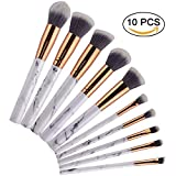Marble makeup brush sets, Powder Blush Eyeshadow Face Foundation Eyebrow Cosmetics Brush Kit (10pcs)