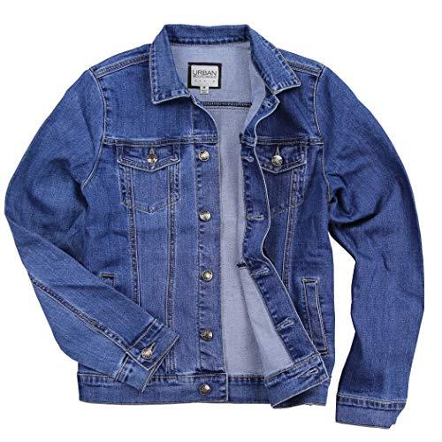 Womens Stretch Fit Blue Jean Denim Jacket (Medium Blue, X-Large) (Custom Denim Jacket)