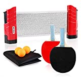 XGear Anywhere Ping Pong Equipment to-Go Includes Retractable Net Post, 2 Ping Pong Paddles, 3 pcs Balls, Attach to Any Table Surface, for All Ages.