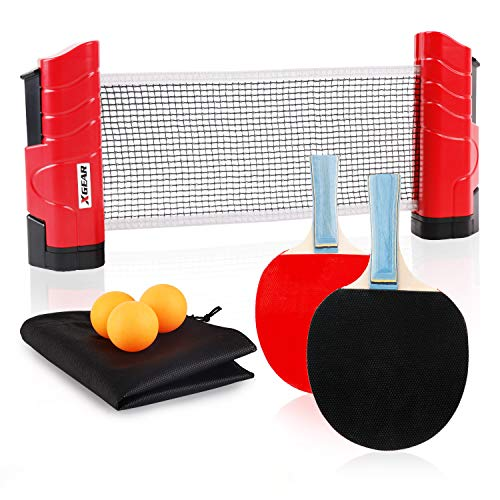 XGEAR Anywhere Table Tennis Set Includes Retractable Net Post, 2 Ping Pong Paddles, 3 pcs Balls, Attach to Any Table Surface, for All Ages.