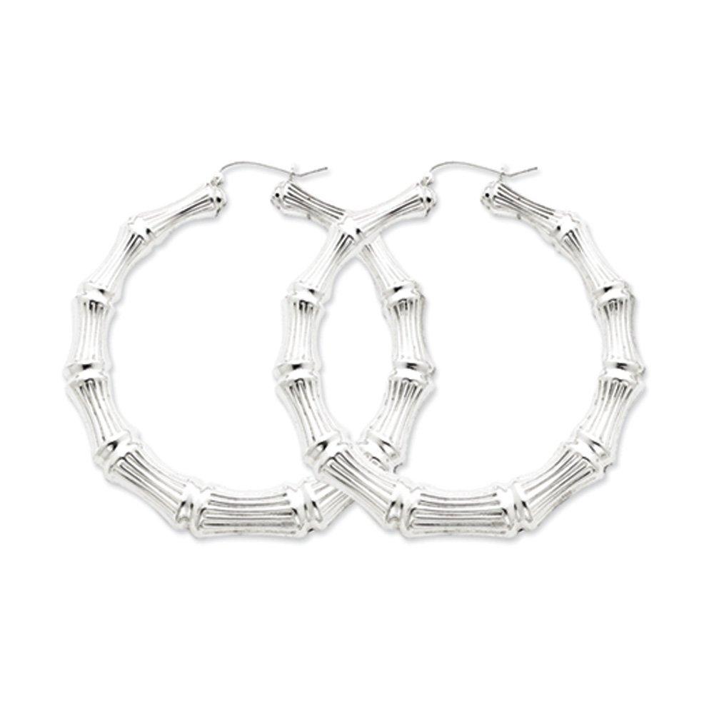Bamboo Hoop Earrings in Sterling Silver - 75mm (2-7/8 Inch)