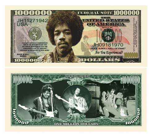 American Art Classics Jimi Hendrix Million Dollar Bill in Currency Protector - Best Gift for Fans of Jimi Hendrix and The Experience - Eric Clapton Amps