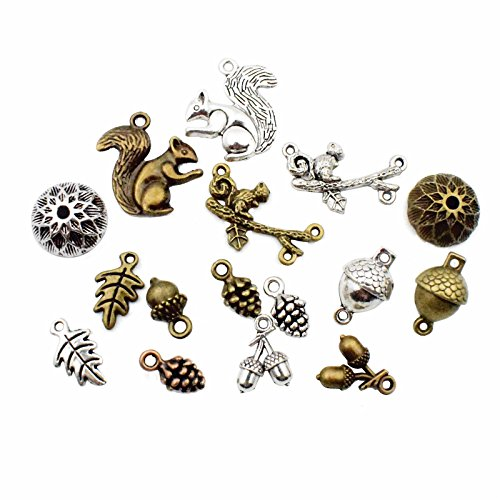 Squirrel Acorn Charms-100g (about 65-70pcs) Craft Supplies Mixed Pendants Beads Charms Pendants for Crafting, Jewelry Findings Making Accessory For DIY Necklace Bracelet M18 (Squirrel Acorn charms)