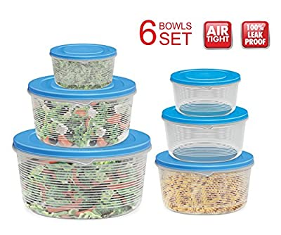 Mixing Bowl Set with Lids; Kitchen Food Storage Containers, Plastic Airtight Nesting Stackable Meal Prep 12 Piece, 6 Bowls & 6 Covers; No Spill Leakproof Lightweight - for Baking, Salad, Picnic
