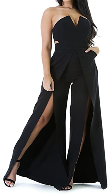 blingdeals Womens Summer Strapless Front Slit Maxi Rompers Wide Leg Pant Jumpsuit