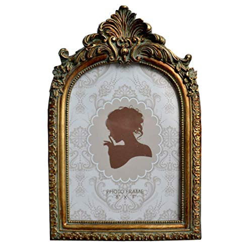 (SIKOO Vintage Picture Frame Antique Table Top Wall Mounting Photo Frame for Home Decor, Bronze Gold (5x7))