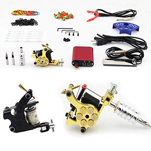 Coil Tattoo Kits 2pcs Tattoo Machines 10 Wraps Coils Liner Shader with Ink Needles Grip Cord Tip Pedal (no Ink) from TAONE