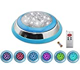 COOLWEST LED RGB Underwater Swimming Pool Light Stainless Steel/Surface Mount,12V AC/DC Waterproof IP68,Remote Control Included