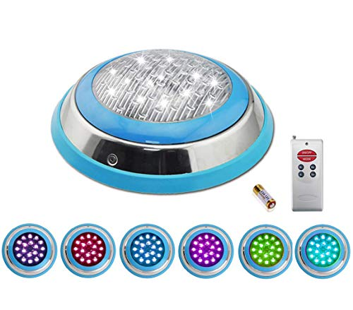 20' Stainless Steel Electric Range - COOLWEST LED RGB Underwater Swimming Pool Light Stainless Steel/Surface Mount,12V AC/DC Waterproof IP68,Remote Control Included